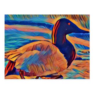 Cartão do pato de Canvasback da arte abstracta Cartão Postal