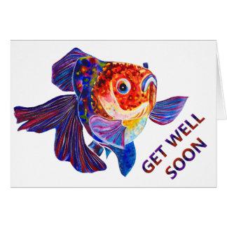 """Cartão do poço do design do peixe dourado """"obtenha"""