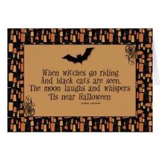 Cartão do poema do Dia das Bruxas
