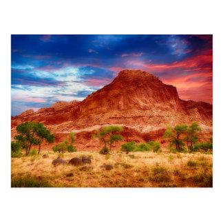 Cartão do por do sol das gargantas do deserto das