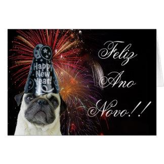 Cartão do pug de Feliz Ano Novo
