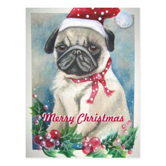 Cartão do Pug do Feliz Natal Cartão Postal