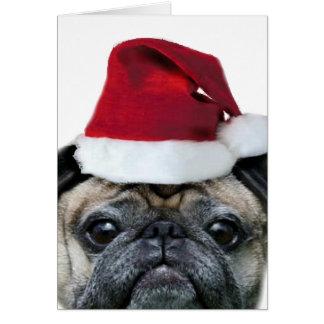 Cartão do pug do Natal