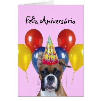 Cartão do pugilista do aniversário de Feliz