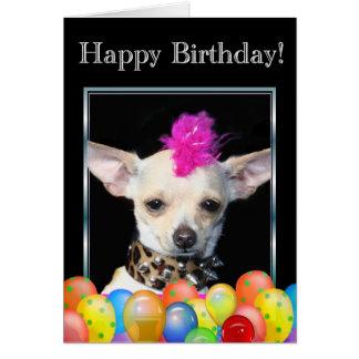 Cartão do punk da chihuahua do feliz aniversario