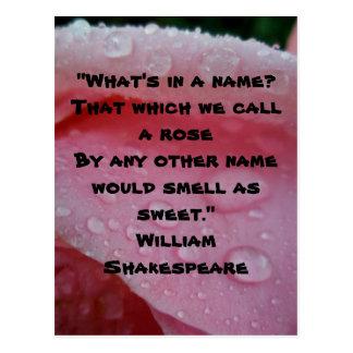 Cartão do rosa das citações do rosa de William