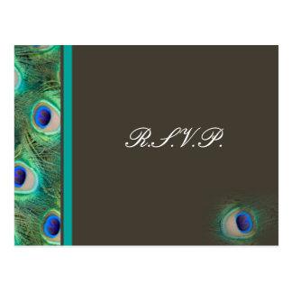 cartão do rsvp do casamento do azul de pavão cartão postal