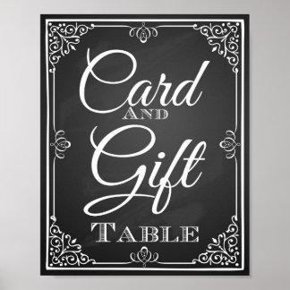 Cartão do sinal do casamento e mesa do presente poster