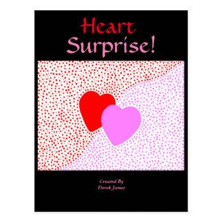 Cartão do vertical da surpresa do coração cartão postal