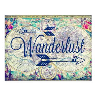 Cartão do viagem do mapa do vintage do Wanderlust Cartão Postal