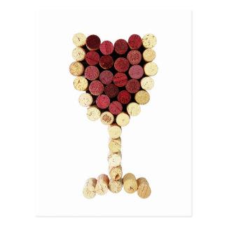 Cartão do vidro de vinho da cortiça