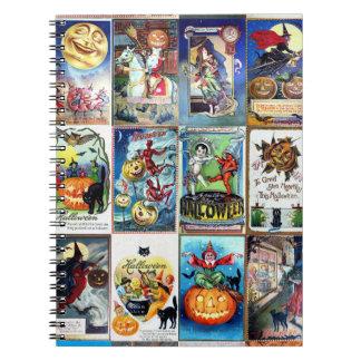 Cartão do vintage do Dia das Bruxas Cadernos Espirais