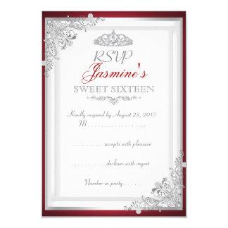 Cartão Doce de prata vermelho 16 da tiara do damasco de