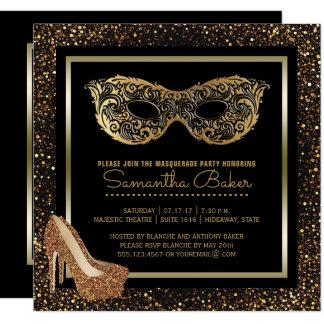 Cartão Doce dezesseis do ouro do partido | do mascarada