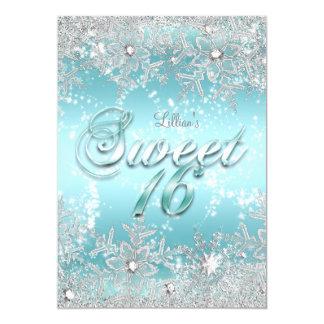 Cartão Doce floco de neve azul da cerceta do país das