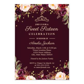 Cartão Doce floral elegante dezesseis de Borgonha do ouro