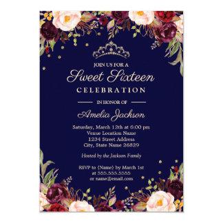 Cartão Doce floral elegante dezesseis do marinho de