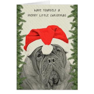 Cartão Dogue de Bordéus Feliz pouco Natal