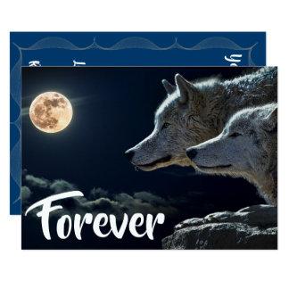 Cartão Dois lobos cinzentos & casamentos da Lua cheia