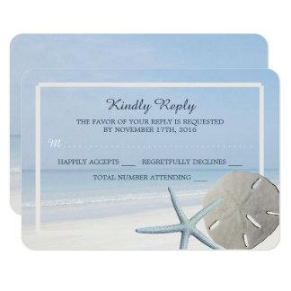 Cartão Dólar de areia e casamento de praia RSVP da