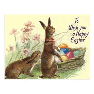 Cartão dos coelhos da páscoa do vintage cartão postal