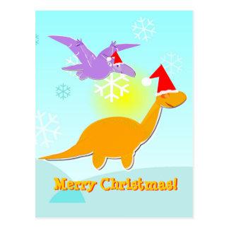 Cartão dos dinossauros dos cumprimentos do Feliz N Cartão Postal
