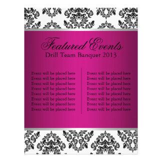 Cartão dos eventos do damasco do rosa quente e do