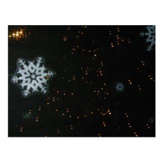 Cartão dos flocos de neve & das luzes cartão postal