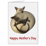 Cartão dos gatos Siamese do dia das mães