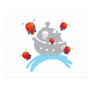 Cartão dos joaninhas do pirata cartoes postais