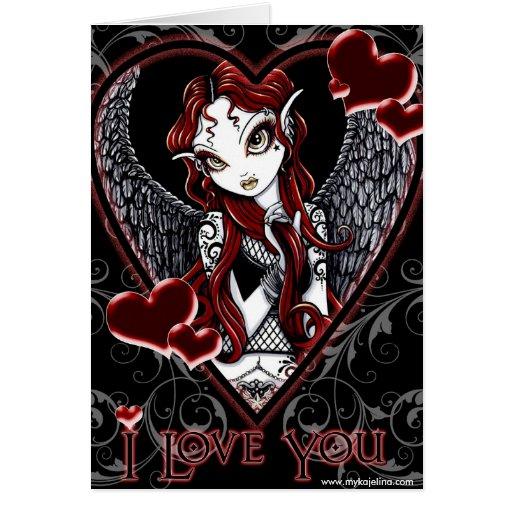 Cartão dos namorados do coração do anjo de Stevie