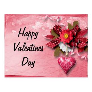 Cartão dos namorados do coração e da flor cartão postal