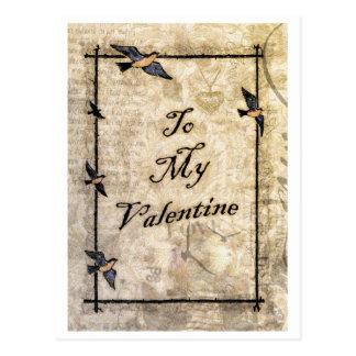 cartão dos namorados do estilo do victorian do cartão postal