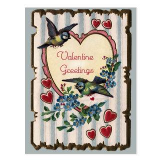 Cartão dos namorados dos Bluebirds e dos corações