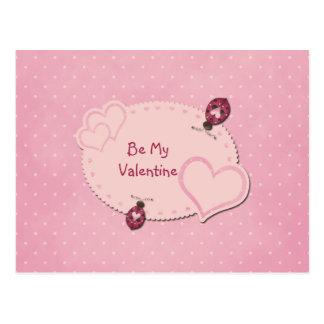 Cartão dos namorados dos joaninhas dos corações cartão postal