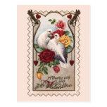 Cartão dos namorados dos pássaros e dos rosas do a cartoes postais