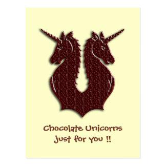 Cartão dos unicórnios do chocolate cartão postal