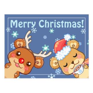Cartão dos ursos do Feliz Natal Cartão Postal