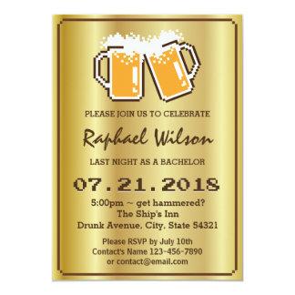 Cartão dourado moderno do despedida de solteiro convite 12.7 x 17.78cm