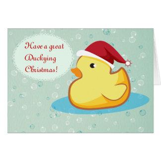 Cartão ducky de borracha amarelo do Feliz Natal
