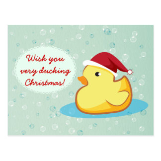 Cartão ducky de borracha amarelo do Feliz Natal Cartao Postal