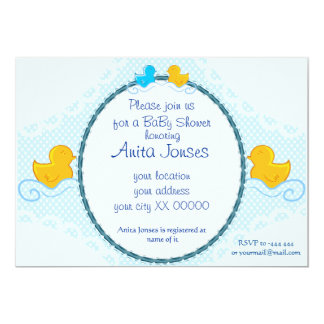 cartão ducky de borracha do chá de fraldas convite 12.7 x 17.78cm