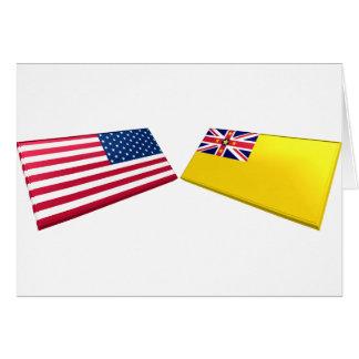 Cartão E.U. & bandeiras de Niue