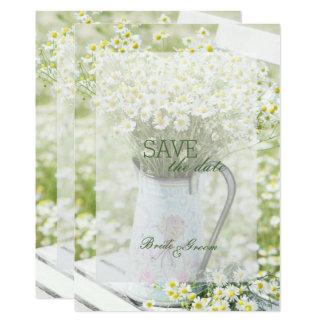 Cartão ECONOMIAS da flor da camomila das margaridas de