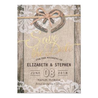 Cartão Economias em ferradura rústicas do casamento do