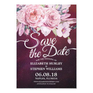 Cartão Economias Wedding o vermelho floral de Borgonha