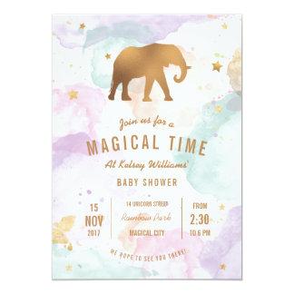 Cartão Elefante dourado com o chá de fraldas Pastel da