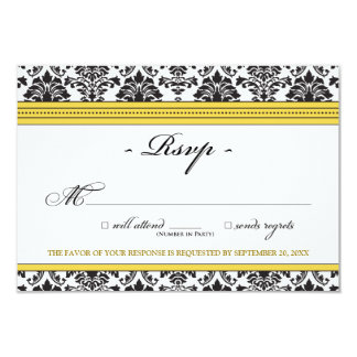 Cartão elegante do damasco RSVP (amarelo) Convite 8.89 X 12.7cm
