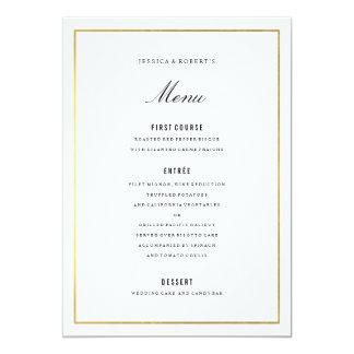 Cartão elegante do menu do casamento da beira do convite 12.7 x 17.78cm
