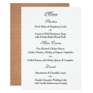 Cartão elegante do menu do casamento vintage convite 12.7 x 17.78cm